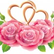 Banner with roses and hearts - Stock Vector