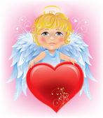 ángel chico y san valentín — Vector de stock