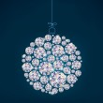 Diamond Christmas ball on blue background — Stock Vector #14716697