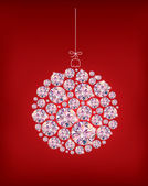 Diamond Christmas ball on red background — Stock Vector