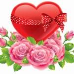 Heart in roses — Stock Vector