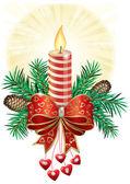 Vela de la navidad — Vector de stock