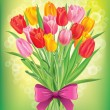 Bouquet of fresh spring tulips different colors — Stock Vector