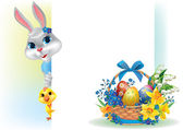Easter background with rabbit chicken and basket — Stock Vector