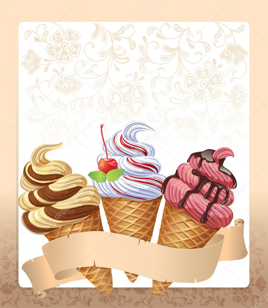 Ice cream menu. Contains transparent objects. EPS10 — Stock Vector #18431023