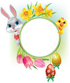 Easter round frame — Stock Vector