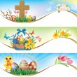 Easter horizontal banners — Stock Vector