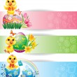 Royalty-Free Stock Vector Image: Easter colorful horizontal banners with chicken