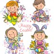Illustration kids celebrate Easter — Stock Vector