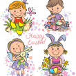 Stock Vector: Illustration kids celebrate Easter