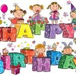 Happy Birthday kids on letters — Stock Vector