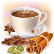 Aromatic coffee with spices — Stock Vector