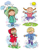 Spring children — Stock Vector