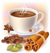 Aromatic coffee with spices — 图库矢量图片