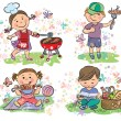 Kids on picnic with barbecue — Stock Vector