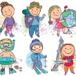 Stock Vector: Travelling kids