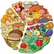 Stock Vector: Protein Carbohydrate Diet