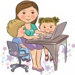 Busy mother works with kids — Stock Vector