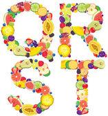 Alphabet from fruit QRST — Stock Vector