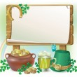 St. Patrick's Day wooden board — Stock Vector