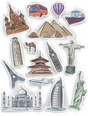 Travel and vacation stickers set — Stock Vector