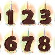 Chocolate numbers candles for holiday cake — Stock Vector