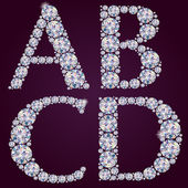 Alphabet of diamonds ABCD — Stock Vector