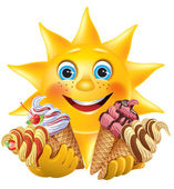 Funny sun with delicious ice creams — Stock vektor