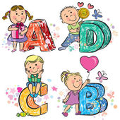 Funny alphabet with kids ABCD — Stock Vector