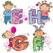 Funny alphabet with kids EFGH — Vettoriale Stock