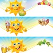Fun sun with ice cream and cool drinks horizontal banners - Stock Vector