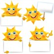 Funny sun with blank banner — Stock Vector #25321559