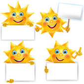 Funny sun with blank banner — Stock Vector