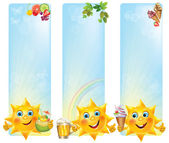 Funny sun with cool desserts and drinks vertical banners — Stock Vector