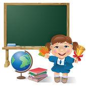 School board, school girl and globe — Stock Vector