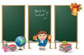 Verticale banners schoolbestuur en school meisje — Stockvector