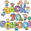 Back to school funny letters and kids — Stock Vector