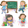 Schoolchildren — Stock Vector
