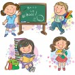 Stock Vector: Schoolchildren