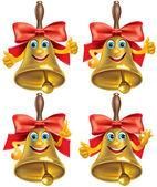 Golden schulglocke mit roter schleife — Stockvektor