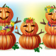 Happy Pumpkin Family — Stock Vector