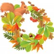 Autumn wreath with squirrel — Stock Vector