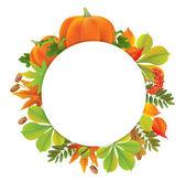 Podzimní kolo banner s dýně — Stock vektor
