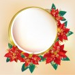 Round banner with Christmas poinsettia — Stock Vector