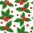 Seamless pattern of holly berries — Stock Vector