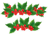 Christmas garland of holly berries — Wektor stockowy