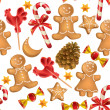 Seamless pattern of Christmas sweets — Stock Vector