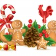 Christmas candy and decorations — Vector de stock