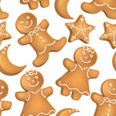 Seamless pattern of Christmas biscuits — Stock Vector