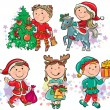 Stock Vector: Christmas kids